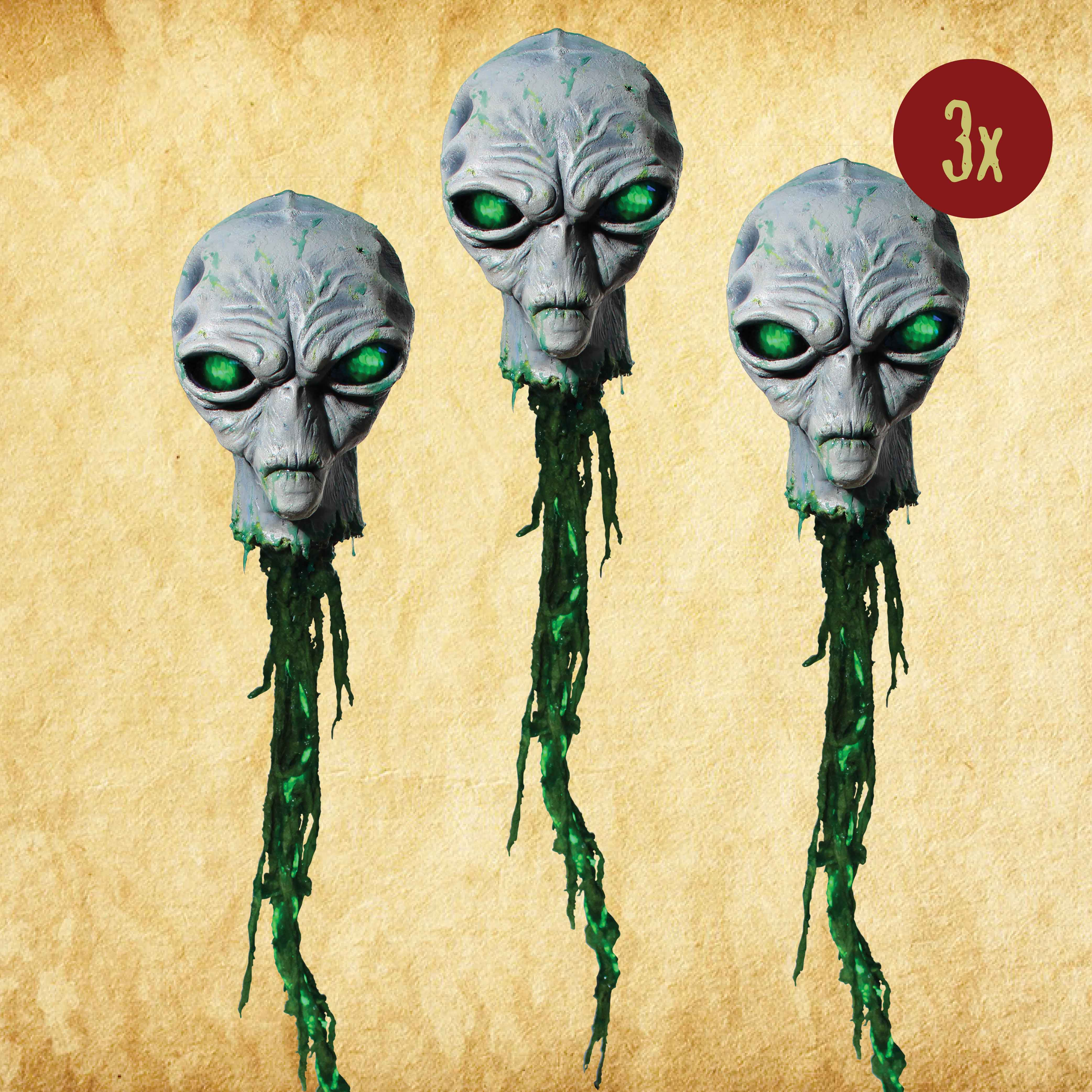 Glowing Grey Alien Head - Set of 3
